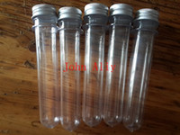 Wholesale Pet Screw - .Free Shipping brand new 40ml Transparent Mask Bath Salt Test PET Tube 40ml Clear Plastic Cosmetic Tube With Aluminum Cap