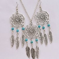 Wholesale Dreamcatcher Dress - Dreamcatcher Turquoise Feathers Charms Choker Statement Vintage Silver Necklace Earrings Jewelry Sets For Women Dress Brand 20set S149