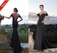 Wholesale Tarik Ediz Black Backless Dress - Spring 2015 Black Mermaid Evening Dresses Tarik Ediz V-Neck Straps Evening Gowns Backless Short Sleeves Beaded Neck Court Train Party Dress