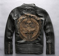 Wholesale avirex jackets - Black Avirex fly genuine leather jackets motorcycle jacket Heart A printed back men jacket
