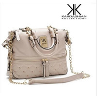 Wholesale Dark Brown Leather Handbags - New Fashion kardashian kollection brand black chain women leather handbag shoulder bag KK totes messenger bag Crossbody Bag free shippin