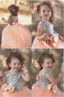 Wholesale Peach Tulle Wedding Dresses - Peach Pink Shiny Sequin Princess pageant Dresses For Your Little Girl Handmade Flower Ball Gown Flower Girls' Dresses