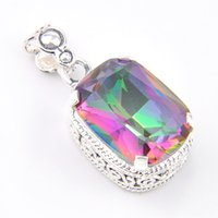 Wholesale Vintage Square Necklace - 5 Pcs 1 lot LuckyShine Hot Sale Square Vintage Rainbow Mystic Topaz Crystal 925 Sterling Silver Wedding Pendants Russia American Australia