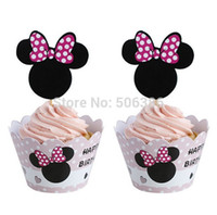 Wholesale Decoration Cake Boxes - 120pcs Minnie cupcake wrappers & toppers picks decoration,kid birthday party favors supplies,Festival cake decoration