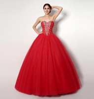 Wholesale Cheap Birthday Dresses For Teens - 2016 Cheap Quinceanera Dresses For Sweet 16 15 Girls Birthday Party Red Ball Gowns Sequin Beaded Debutante Teens Masquerade Prom Dress Gown