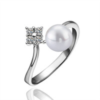 Wholesale Jewellery Ring Stone For Women - Engagement 925 Silver Pearl wedding Ring For bijoux women Sterling Silver Jewelry love jewellery JZ5521