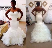 Wholesale Sweetheart Wedding Dress Tulles - 2017 Fashion Sexy White Tulles Mermaid Wedding Dresses Ruffles Long Court Train Sweetheart Pure Bridal Gowns Vestidos De Noiva Plus Size