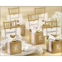 şeker düğün lehim kutuları gümüş toptan satış-Toptan 100 adet Sevimli Altın / gümüş Sandalye Düğün Favor Şeker Kutuları + Şerit Düğün Paketi Hediye Kutusu bebek duş iyilik hediye kutusu