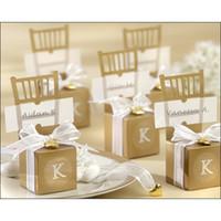 gümüş bebek lehçesi toptan satış-toptan 100pcs Sevimli Altın / Gümüş Sandalye Düğün Favor Şeker Kutuları + Şerit Düğün Paketi Hediye Kutusu bebek duş iyilik hediye kutusu