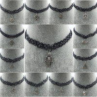 Wholesale Handmade Rope Necklaces - Handmade Hot Selling Vintage Stretch Tattoo Choker Necklace Gothic Punk Grunge Henna Elastic Pendant Necklaces Free shipping