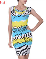 Wholesale Strechy Dresses - New Fashion Women Dress Ruffled Neck Strechy Striped Zebra Pencil Bodycon Dress Elegant Evening Party Dresses Babydoll +G-String SV004492