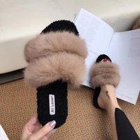ingrosso flip flop di coniglio-Inverno Donna Pantofole di pelliccia Peluche Home Warm Flats Scarpe Donna Scarpe invernali Scivoli esterni Plus Size Rabbit Fur Flip Flops