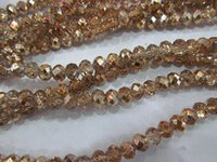 Wholesale Champagne Faceted Crystal Jewelry - 2strands 4x6 5x8 6x10mm crystal like swarovski bead rondelle abacus faceted dark champagne assortment jewelry beads