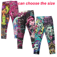 Wholesale Cartoon Girls Tights - Monster High Girls Leggings Zombie Girl Cartoon Kids Leggings Pants clothing monster 6Y-16Y B005