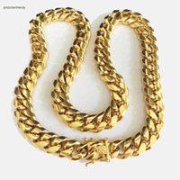 Wholesale curb link mens gold necklace - HIP HOP 14mm Stainless Steel Curb Cuban Chain Necklace Boys Mens Fashion Chain Dragon Clasp Link jewelry