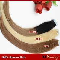 "Wholesale Cheap Taped Hair Extensions - XCSUNNY Brazilian Remy Human Hair Tape Extensions Ombre Cheap Tape Hair Extensions 18""20"" 100g Ombre Hair Extensions Tape In"