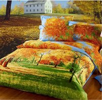 Wholesale Grass Duvet Cover - 2015 Beautiful Yellow Grass And Tree Print 4-Piece Duvet Cover Bedding Sets 100% Cotton Countryside Autumn House Scenery Free Shipping