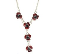 Wholesale Enamel Gold Jewellery - Vintage Silver Tone Red Enamel Lovely Poppy Flower Chain Necklace Jewellery Remembrance Day Gift Souvenir New