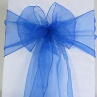 Wholesale wedding chair sashes royal blue - 100 Royal Blue Organza Chair Sashes Cobalt Blue Dark Blue Crystal Sample Fabric wedding Bow Gift -SASH