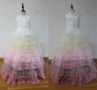 100% de imagem real! Colorido Tiered Bottom Girls Pageant Vestidos Crew Neck Appliques Beaded Tulle Floor Length Ball Gown Children Dresses