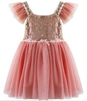 Wholesale Children Dresses Sequins - Girls Spring Sequin Lined Tulle Party DressSequin Shiny Party Dresses Holiday School Performance dress Child TUTU Dresses 5pc lot melee