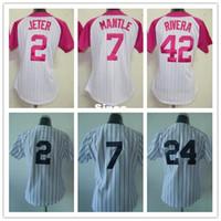 Wholesale Scott Jersey Short Women - 30 Teams- Derek Jeter Women Jersey Pink Mickey Mantle Jersey Woman Scott Sizemore Baseball Jersey Ladies Mariano Rivera Women Jersey
