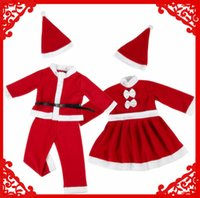 Wholesale Christmas Costumes For Teenage Boys - Christmas baby clothes santa claus costume for baby boys girls rompers for new year costume