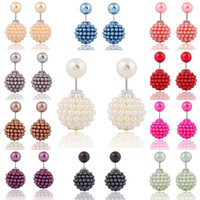 pendientes de doble pendiente al por mayor-Earings for Woman Girls Brand New Korean Pearl doble perlas de arcilla Crystal Ball Brand New Fashion Two Ends Pearl Studs Earring