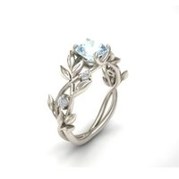 Wholesale Transparent Rhinestone Rings - Noble Women's 925 Sterling Silver Floral Ring Transparent Aquamarine Diamond Jewelry Lucky Flower Vine Leaf Birthday Proposal Gift Bridal En