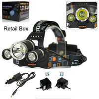 Wholesale Car Headlights Strobe - High Power 5000lum CREE XM-L 3x T6 LED Headlight Headlamp Head Lamp Light Torch Flashlight +charger+car charger Free Shipping