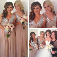 Barato Vestido De Casamento Coral De Ouro-Sequins Chiffon V Neck Vestidos de dama de honra Plus Size Rose Gold Sparkly Maid of Honor Bridal Wedding Party Vestidos Maternidade 2016 Custom Made