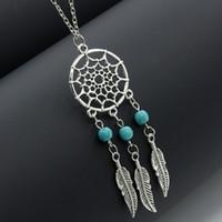 Wholesale Vintage Women S Necklace - Hot sale Dream Catchers choker necklaces vintage silver wings feather leaf turquoise pendant adjustable necklace for women s Fashion Jewelry