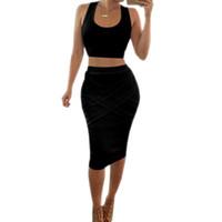 ingrosso black two piece outfits-Nuovi arrivi 2019 Vestiti sexy delle donne sexy Party Night Club Dress Abiti estivi bianchi per le donne Due pezzi Abiti Vestidos Abito nero