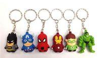 Wholesale Pvc Finder - Free Shipping Superheroes Spiderman Thor Batman Iron Man Captain America Hulk PVC Keychains Pendants Toys 60pcs set