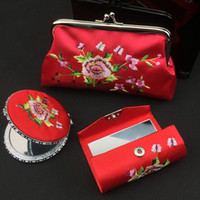 Wholesale Purse Party Favor Boxes - Creative Embroidered Crafts Gift Silk brocade Compact Makeup Mirror and Lipstick Tubes and Coin Purse Set Women Cosmetic Tools Box Packing