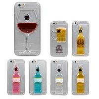 CellPhone Clear Case para iPhone 6 4.7 '' Liquid Quicksand Tall Red Wine Cocktail Glass Taza de cerveza Botella Copa transparente Contraportada