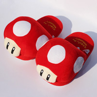 "Wholesale Mushroom Slippers - Super Mario Bros Red Mushroom Plush Slippers Adult Indoor Warm Slipper 11""28cm Free shipping Retail"