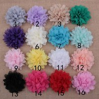 Wholesale Diy Cotton Flower - Chiffon Flowers For Headbands With Flat Back DIY Fabric Flowers For Hairband Hair Clips Children Hair Accessories 100PCS LOT Free Shipping