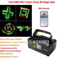 Wholesale Dj Laser Light 3d - RGY 250mW DMX512 Laser Stage Lighting Scanner 3D effect light projector DJ Disco Party Xmas Lights Show Remote Digital DMX D78