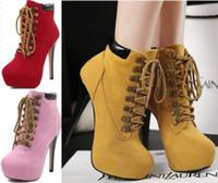 plattform schnüren sich an knöchel booties großhandel-Damen Schnürstiefeletten mit hohem Absatz Stiefeletten Stiletto Plattform Mandel Zehenschuhe Größe 35 bis 40