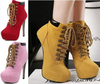 badem topuklu toptan satış-Kadın Lace Up Yüksek Topuk Ayak bileği Boot Patik Stiletto Platformu Badem Burun Ayakkabı Boyut 35-40