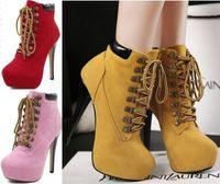 saltos de amêndoa venda por atacado-Womens Lace Up High Heel Botim Sapatinho Stiletto Platform Almond Toe Shoes Tamanho 35 a 40