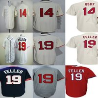 Wholesale womens bobs - Cleveland #19 Bob Feller 14 Larry Doby Mens Womens Kids Toddlers Beige Blue Grey Red Flex Cool Base Top quality Baseball Jerseys