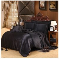 Wholesale Silk Sheets Double - Silk satin bedding set super king size queen full twin black sheets doona duvet cover bedspread double fitted bed in a bag 5pcs