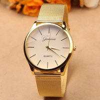 Wholesale Tracking Stainless Steel - Full Stainless Steel Luxury Woman Watch Fashion Gold Watches New Brand Name Geneva Quartz Watch Best Quality order<$18no track