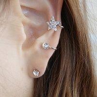 Wholesale Ear Cuffs For Sale - Top Grade Silver ear cuff Hot Sale Fashion Star Earring Crystal Earring For Women Girl Jewelry Wholesale Free Shipping - 0053WR