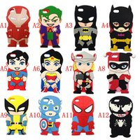 Wholesale Soft Rubber Spiders - obile Phone Accessories Parts Mobile Phone Bags Cases 3d cartoon Batman Wonder woman Superman spider-man Captain America soft rubber sili...