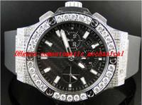 relógios mens grande banda venda por atacado-Relógio De Pulso De luxo Mens Brand New Big 44 Mm Quartzo Evolução Elástico Banda Relógio de Diamante 10 Ct Mens Relógio de Pulso dos homens Relógios