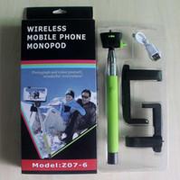 trípode de cuna al por mayor-Z07-6 Bluetooth inalámbrico Monopod Handheld Soporte para teléfono móvil para más de iOS 4 / Android 3 Smartphone Cradle Bracket DHL gratis