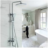 Wholesale Shower Spout Height - bathroom rainfall shower set faucet with ABS showerhead and ABS hand shower bathtub tap adjust height swivel spout cheap